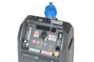 Detailansicht des Gerätes mit angeschlossenem Atemgasbefeuchter